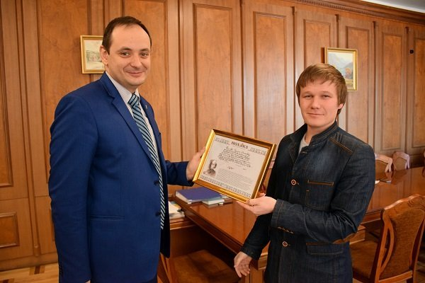 City Mayor Ruslan Martsinkov for his honest work awarded with the gratitude of Deputy Director of the Department of Youth Policy and Sport of Ivano-Frankivsk City Council - Head of the Department of Family and Gender Policy Nazariy Kuzemka
